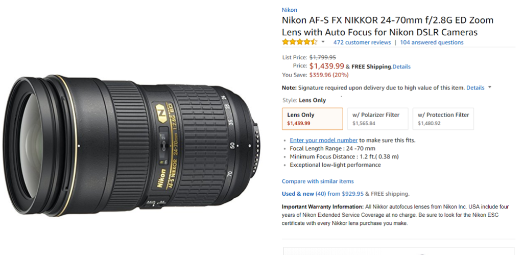 $360 off on Nikon 24-70mm f/2 8G ED Lens at Amazon | Nikon Camera Rumors
