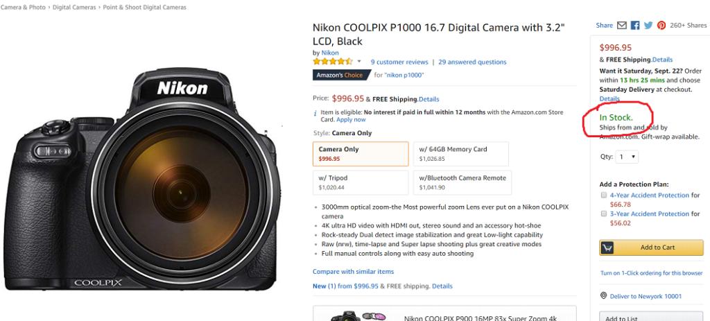 nikon coolpix p1000 now in stock at amazon nikon camera rumors