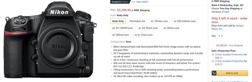 Nikon D850 in Stock Tracker | Nikon Camera Rumors